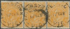 SG 85 ACSC 67(8)d., 67(8)u. KGV Head ½d Orange strip of 3 (AHSUP/173)